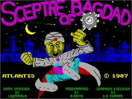 Title screen of Sceptre of Bagdad on the Sinclair ZX Spectrum.