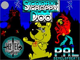 Title screen of Scooby Doo and Scrappy Doo on the Sinclair ZX Spectrum.