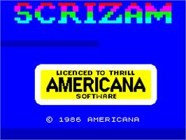 Title screen of Sgrizam on the Sinclair ZX Spectrum.
