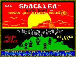 Title screen of Shackled on the Sinclair ZX Spectrum.