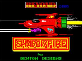 Title screen of Shadowfire on the Sinclair ZX Spectrum.