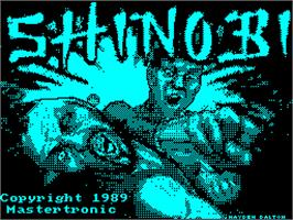 Title screen of Shinobi on the Sinclair ZX Spectrum.
