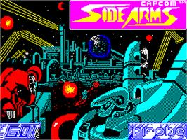 Title screen of Side Arms Hyper Dyne on the Sinclair ZX Spectrum.