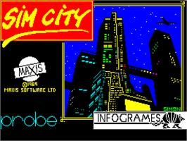 Title screen of SimCity on the Sinclair ZX Spectrum.