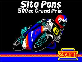 Title screen of Sito Pons 500cc Grand Prix on the Sinclair ZX Spectrum.
