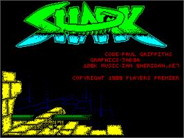 Title screen of Sky Shark on the Sinclair ZX Spectrum.