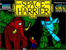Title screen of Space Harrier on the Sinclair ZX Spectrum.