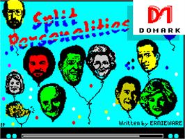 Title screen of Split Personalities on the Sinclair ZX Spectrum.
