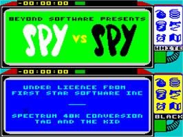 Title screen of Spy vs. Spy: The Island Caper on the Sinclair ZX Spectrum.