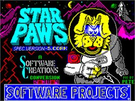 Title screen of Star Paws on the Sinclair ZX Spectrum.