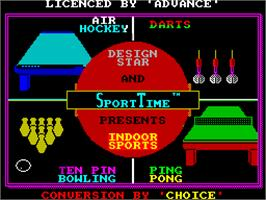 Title screen of Superstar Indoor Sports on the Sinclair ZX Spectrum.