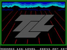 Title screen of TLL: Tornado Low Level on the Sinclair ZX Spectrum.