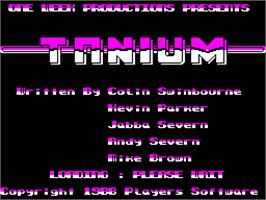 Title screen of Tanium on the Sinclair ZX Spectrum.