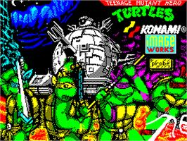 Title screen of Teenage Mutant Ninja Turtles II: The Arcade Game on the Sinclair ZX Spectrum.