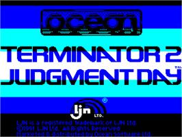 Title screen of Terminator 2: Judgment Day on the Sinclair ZX Spectrum.