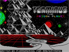 Title screen of Terminus: The Prison Planet on the Sinclair ZX Spectrum.