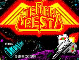 Title screen of Terra Cresta on the Sinclair ZX Spectrum.