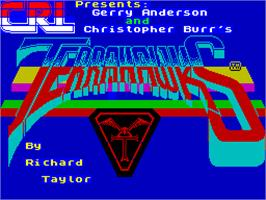 Title screen of Terrahawks on the Sinclair ZX Spectrum.