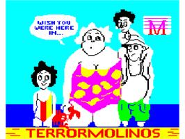 Title screen of Terrormolinos on the Sinclair ZX Spectrum.