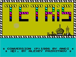 Title screen of Tetris 2 on the Sinclair ZX Spectrum.