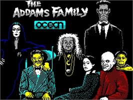 Title screen of The Addams Family on the Sinclair ZX Spectrum.
