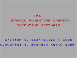Title screen of The Graphic Adventure Creator on the Sinclair ZX Spectrum.