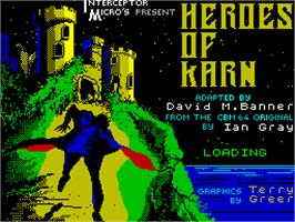 Title screen of The Heroes of Karn on the Sinclair ZX Spectrum.