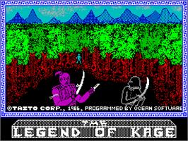 Title screen of The Legend of Kage on the Sinclair ZX Spectrum.