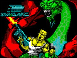 Title screen of The Ninja Warriors on the Sinclair ZX Spectrum.