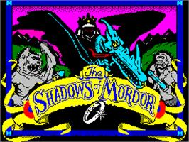 Title screen of The Shadows of Mordor on the Sinclair ZX Spectrum.