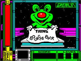 Title screen of Thing Bounces Back on the Sinclair ZX Spectrum.