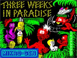 Title screen of Three Weeks in Paradise on the Sinclair ZX Spectrum.