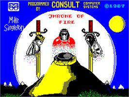 Title screen of Throne of Fire on the Sinclair ZX Spectrum.