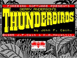 Title screen of Thunderbirds on the Sinclair ZX Spectrum.