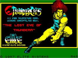 Title screen of Thundercats on the Sinclair ZX Spectrum.