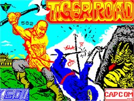 Title screen of Tiger Road on the Sinclair ZX Spectrum.