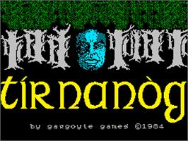 Title screen of Tir Na Nog on the Sinclair ZX Spectrum.