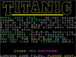 Title screen of Titanic on the Sinclair ZX Spectrum.