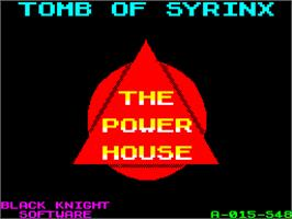 Title screen of Tomb of Syrinx on the Sinclair ZX Spectrum.