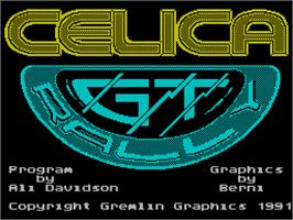 Title screen of Toyota Celica GT Rally on the Sinclair ZX Spectrum.