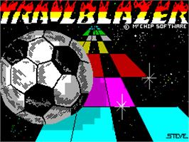 Title screen of Trailblazer on the Sinclair ZX Spectrum.