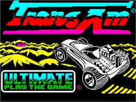 Title screen of Tranz Am on the Sinclair ZX Spectrum.