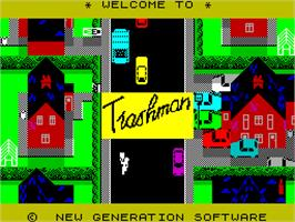 Title screen of Trashman on the Sinclair ZX Spectrum.