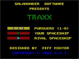 Title screen of Traxx on the Sinclair ZX Spectrum.