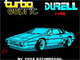 Title screen of Turbo Esprit on the Sinclair ZX Spectrum.