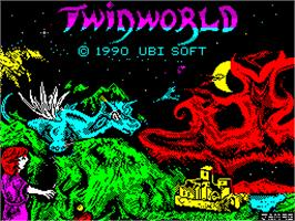 Title screen of TwinWorld: Land of Vision on the Sinclair ZX Spectrum.