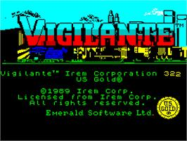 Title screen of Vigilante on the Sinclair ZX Spectrum.