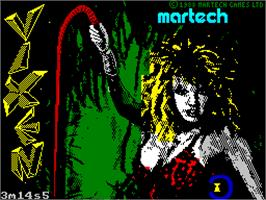 Title screen of Vixen on the Sinclair ZX Spectrum.
