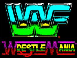 Title screen of WWF Wrestlemania on the Sinclair ZX Spectrum.
