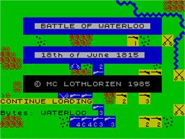 Title screen of Waterloo on the Sinclair ZX Spectrum.